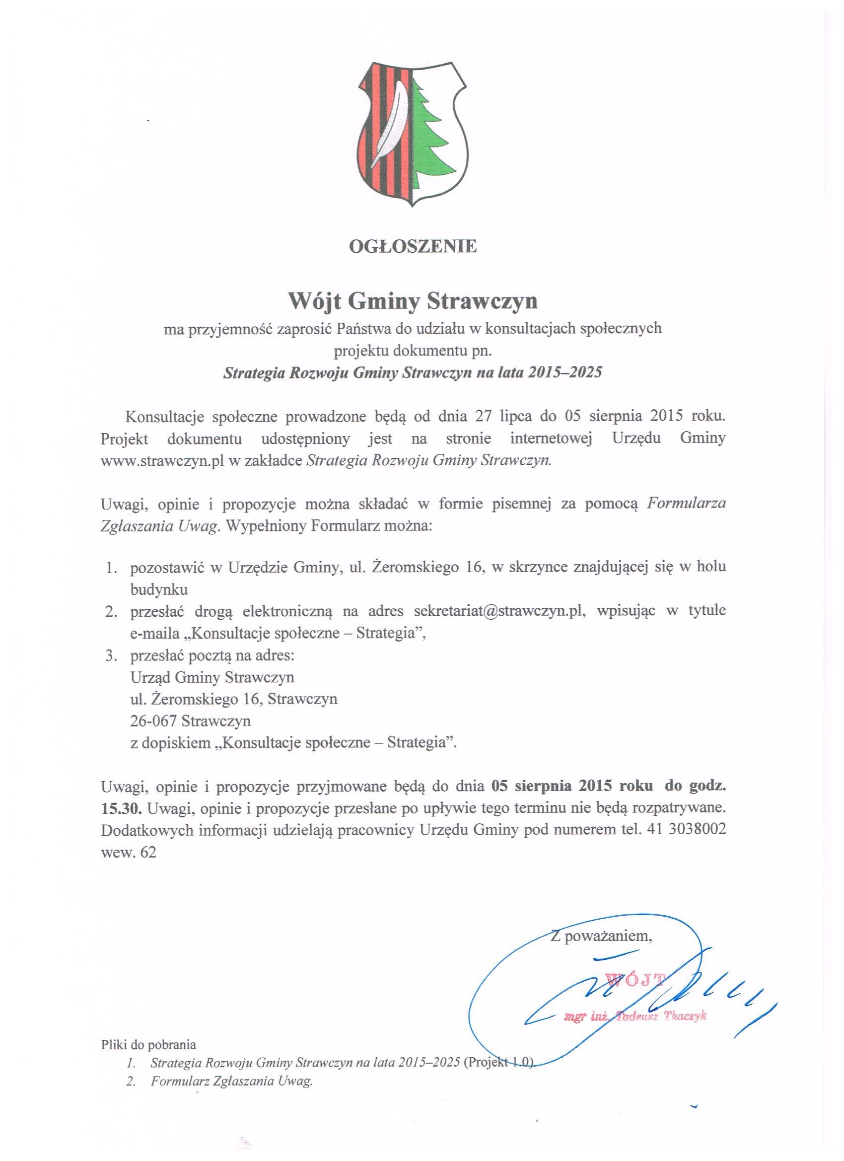 Ogłoszenie o konsultacjach dokumentu pn.: Strategia Rozwoju Gminy Strawczyn na lata 2015-2025